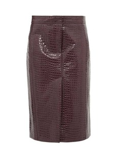 Tibi Crocodile-effect patent midi skirt
