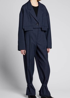 Tibi Crosshatch Cropped Oversized Blazer