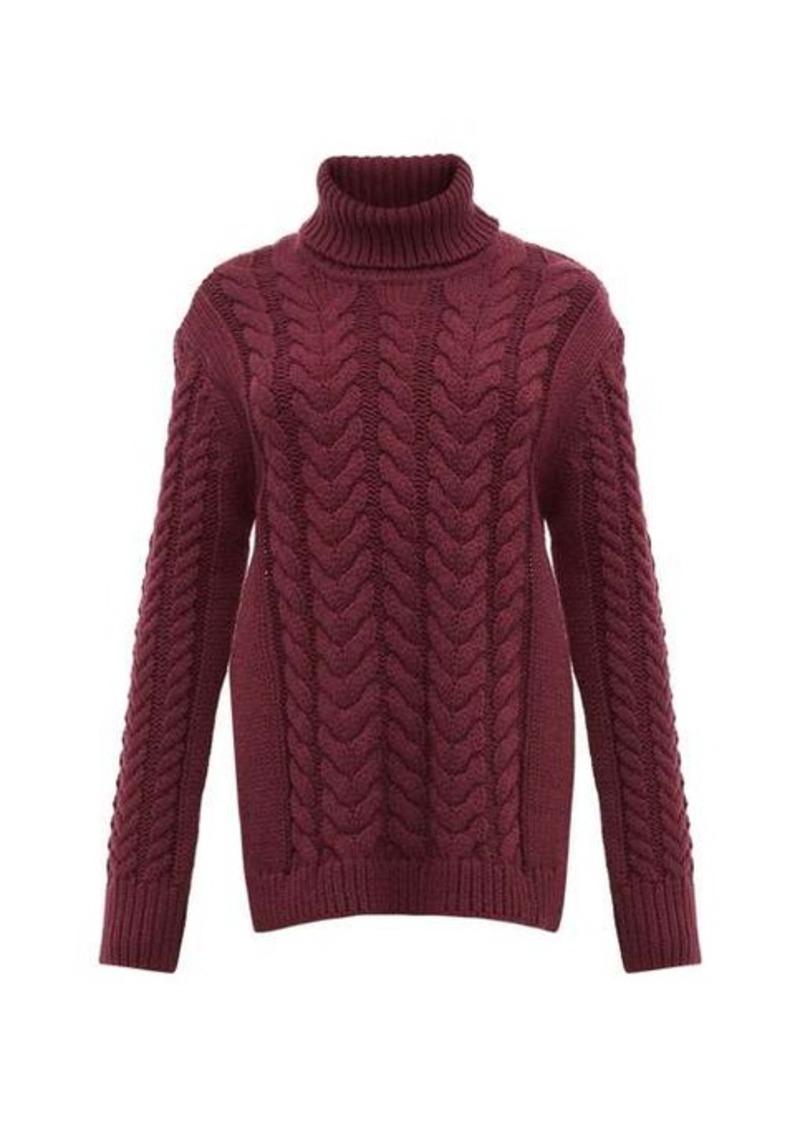 Tibi Cutout-back cable-knit wool-blend sweater