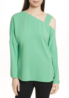 Tibi Cutout Shoulder Crepe Top