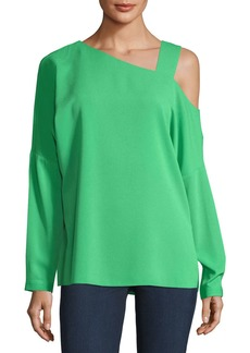 Tibi Cutout-Shoulder Crepe Top