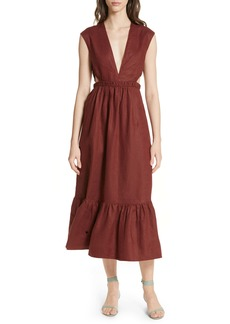 Tibi Cutout Waist Linen Midi Dress