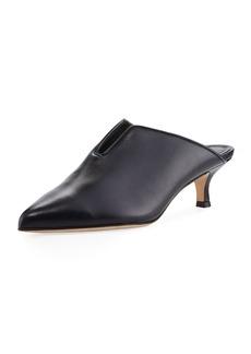 Tibi Dana Leather Low-Heel Mule Pump
