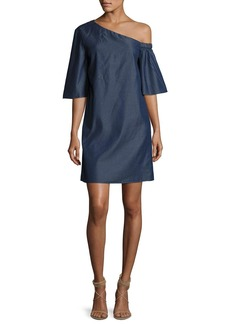 Tibi Dark Denim One-Shoulder Dress