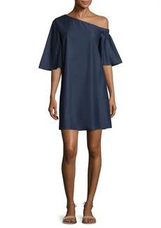 Tibi Cotton Dark Denim One-Shoulder Dress