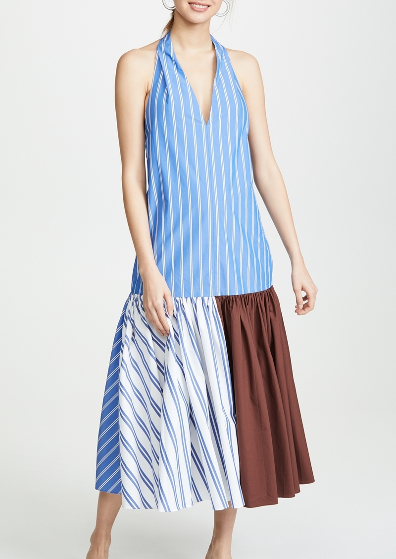 Tibi Deep V-Neck Halter Dress