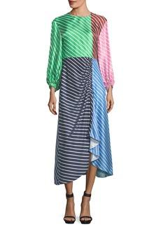 Tibi Delphina Colorblocked Striped Silk Satin Midi Dress