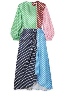 Tibi Delphina Ruched Striped Silk-twill Midi Dress