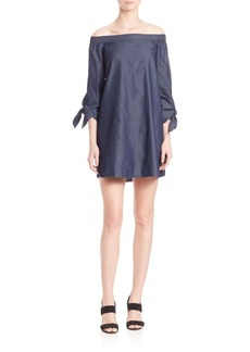 Tibi Denim Off-The-Shoulder Dress