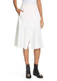 Tibi Dominic Flare Twill Skirt