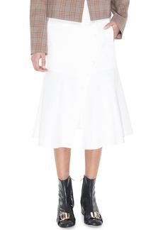 Tibi Dominic Twill Flare Midi Skirt