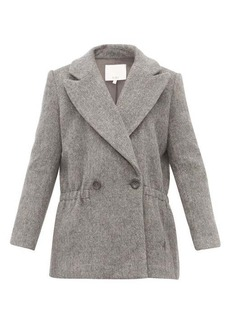 Tibi Double-breasted brushed wool-blend jacket