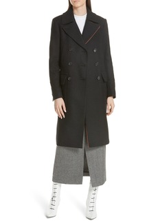 Tibi Double Breasted Felted Wool Blend Midi Coat