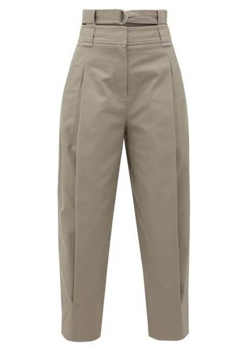 Tibi Double-waistband pleated cotton-blend trousers