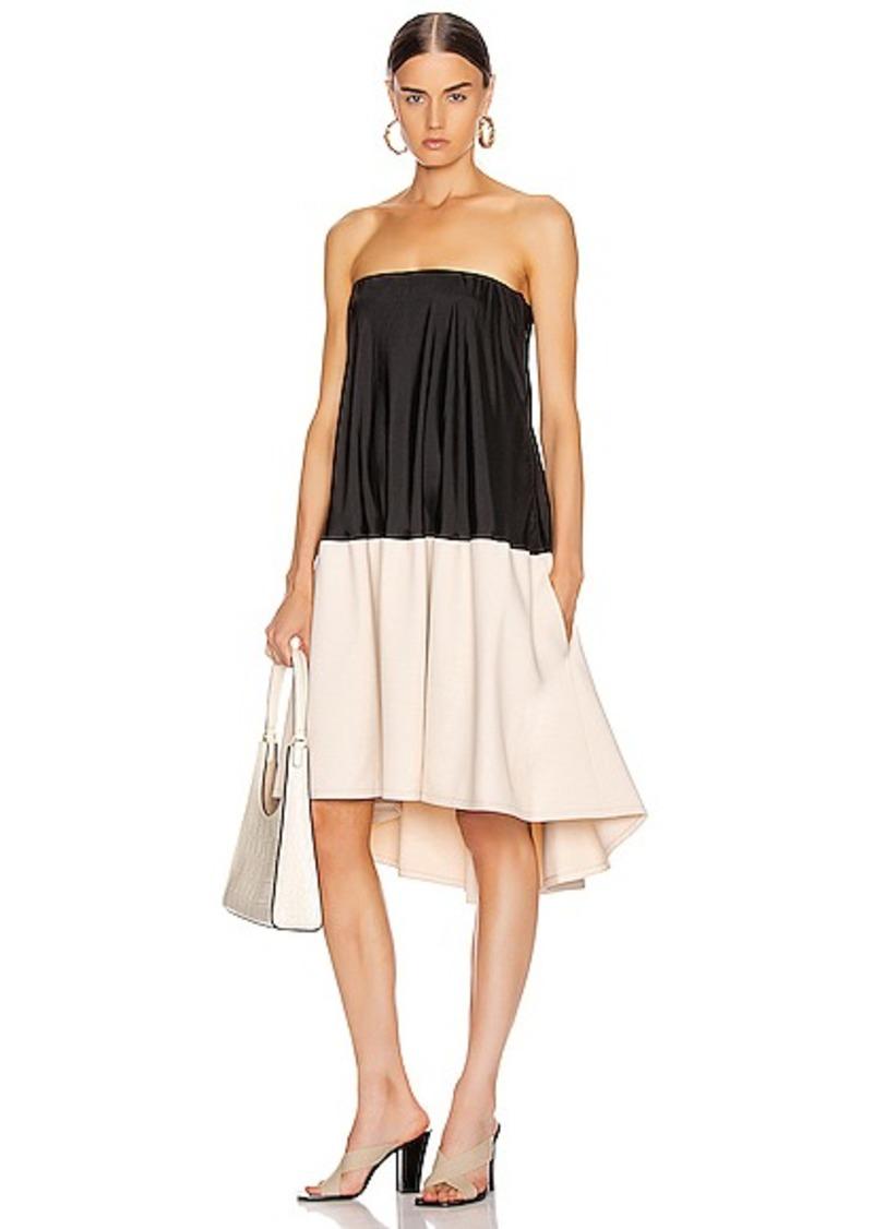 Tibi Drape Strapless Bias Dress