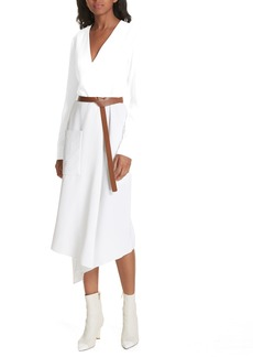 Tibi Drape Twill Midi Wrap Dress