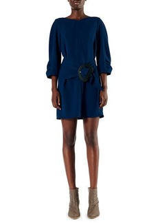 Tibi Drape Twill Shirred-Sleeve Dress with Belt