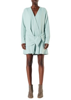Tibi Draped Long-Sleeve Belted Short Dress