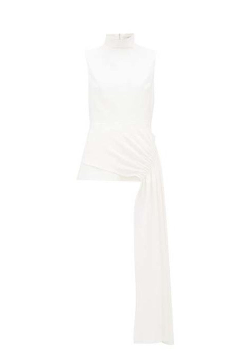 Tibi Draped-panel crepe top