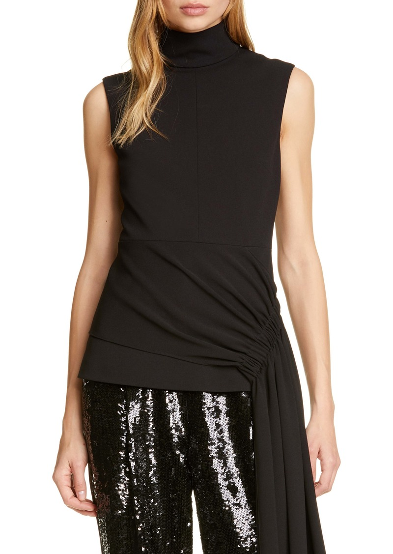 Tibi Draped Side Structured Crepe Top