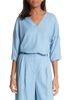 Tibi Draped V-Neck Chambray Top