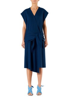 Tibi Drapey Short-Sleeve Belted Wrap Dress