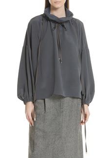 Tibi Drawstring Collar Silk Top