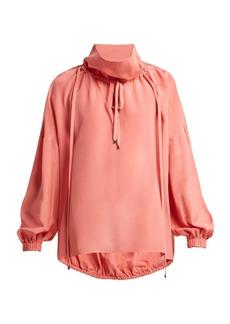 Tibi Drawstring silk blouse