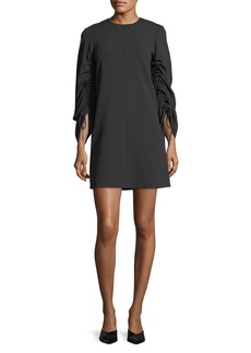 Tibi Drawstring-Sleeves Stretch-Crepe Shift Dress
