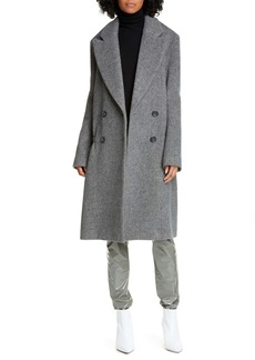 Tibi Drop Waist Herringbone Wool Blend Coat