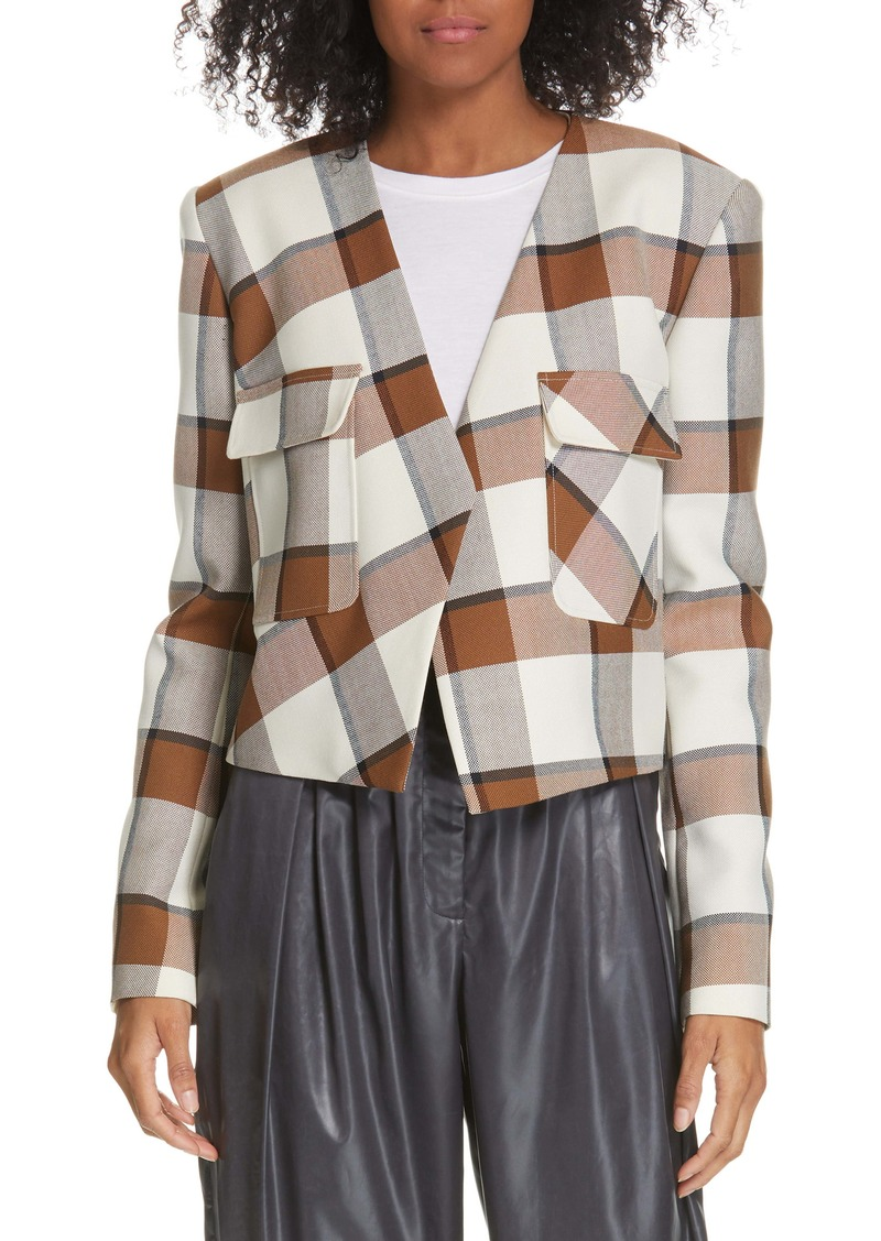 Tibi Dylan Plaid Crop Jacket