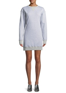 Tibi Easy Open-Back Crewneck Sweatshirt Dress