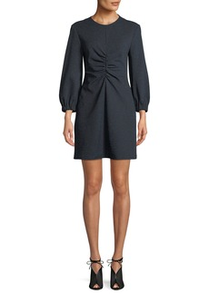 Tibi Eclipse Pique Long-Sleeve Ruched Mini Dress