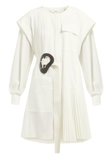 Tibi Edith asymmetric pleated mini dress