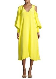 Tibi Edwardian V-Neck Frill-Trim Silk Midi Dress
