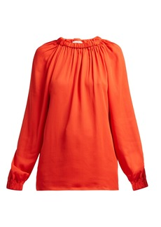 Tibi Elasticated-neck georgette blouse
