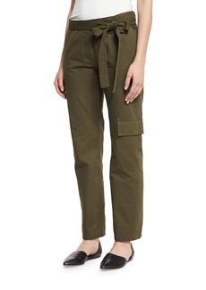 Tibi Enzyme-Wash Twill Straight-Leg Pants