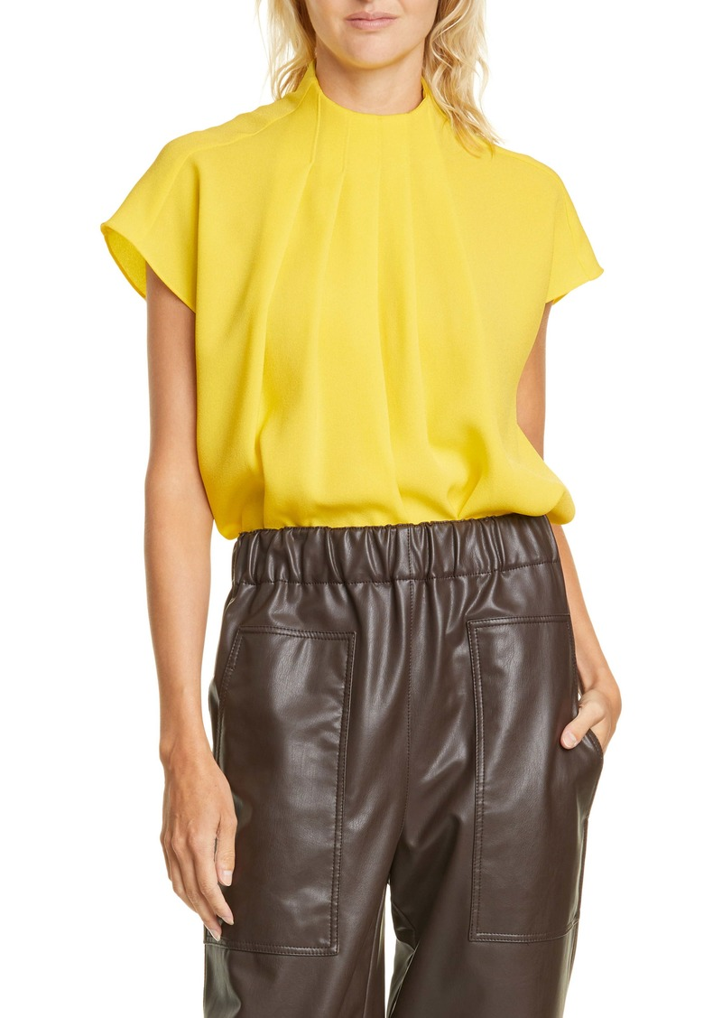 Tibi Esme Pleated Crepe Top