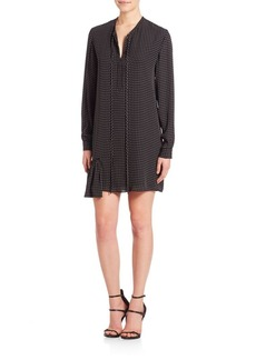 Tibi Estrella Star Print Tie Neck Shirt Dress