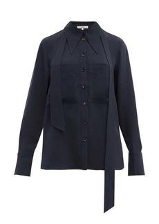 Tibi Exaggerated-collar neck-tie blouse