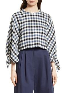 Tibi Fairfax Gingham Tie Sleeve Crop Top
