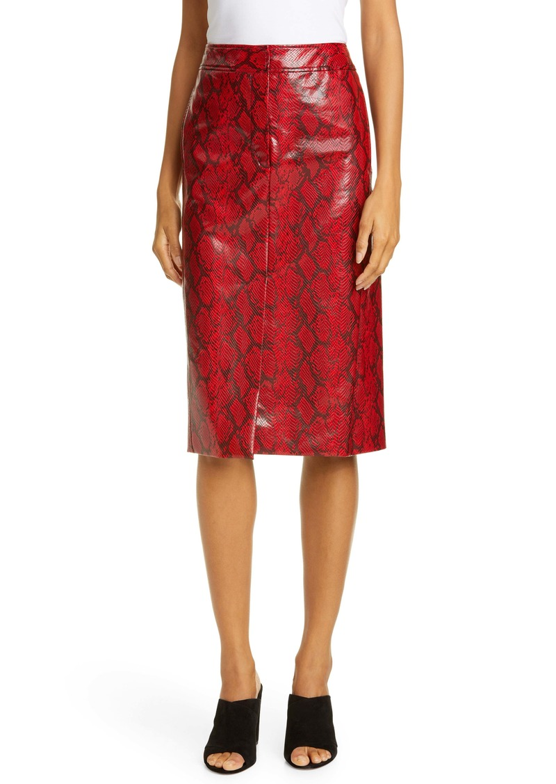 Tibi Faux Snakeskin Pencil Skirt