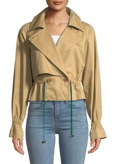 Tibi Finn Twill Cropped Trench Jacket