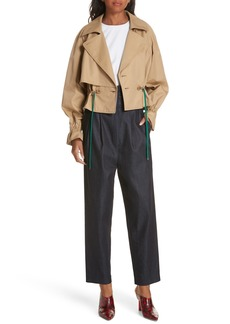 Tibi Finn Water Resistant Twill Crop Trench Coat