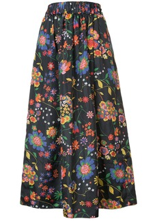 Tibi floral print full skirt - Black