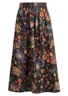 Tibi Floral-print shell skirt