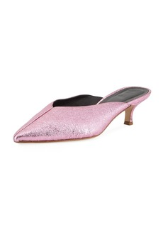 Tibi Frank Kitten-Heel Metallic Leather Mule