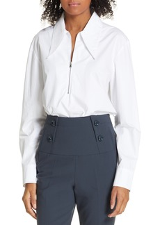 0366acd9ce0b3 Tibi Tibi Isa Toile Pleated Cropped Blouse with Ribbed Cuffs ...