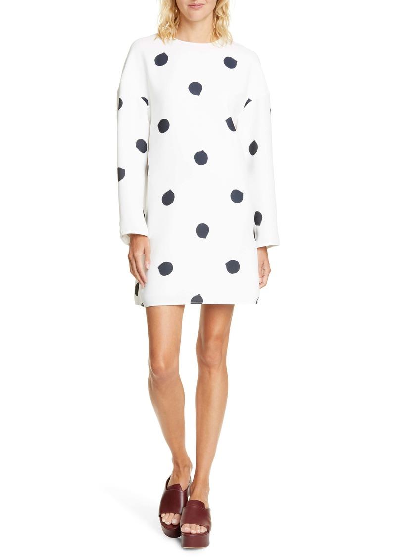 Tibi Fuzzy Polka Dot Long Sleeve Shift Dress