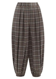 Tibi Gabe checked double-pleated balloon trousers